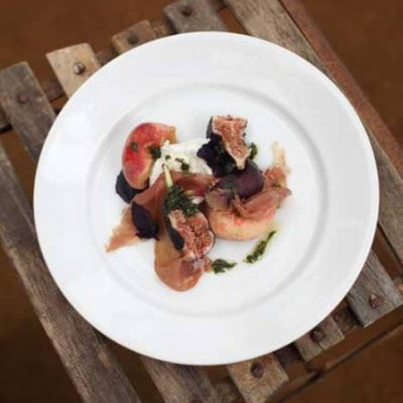Buffalo Mozzarella with peaches, figs and San Danielle Prosciutto