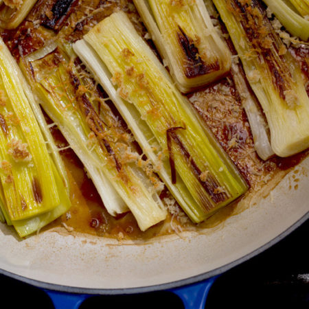 Braised Leeks with Balsamic & Parmesan