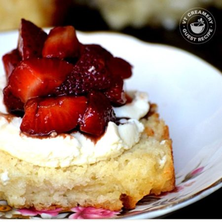 Strawberry Balsamic Shortcakes with Chèvre Honey Biscuits