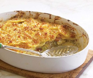 Potato Gratin with Gruyère, Bacon, and Leeks