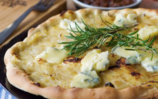 Caramelized Onion, Rosemary, and Cashel Blue Pizza