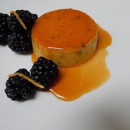 Asher Blue Cheese Flan with Blackberries and Caramelized Honey