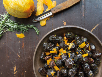Dry-Cured Olives with Rosemary and Orange