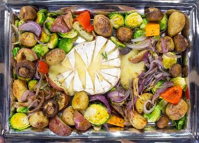 Brie Cheese Fondue with Roasted Vegetables