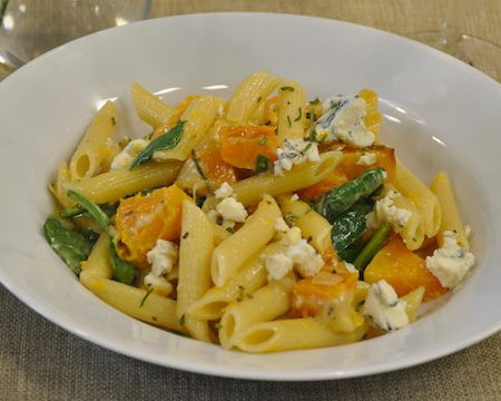 Butternut Squash, Spinach and Rosemary Penne with Pt. Reyes Original Blue Cheese
